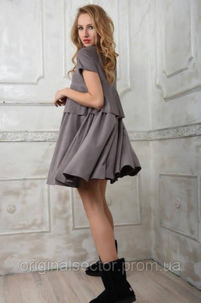 1f31806a8c9d594 Красивое замшевое платье - трапеция - интернет-магазин