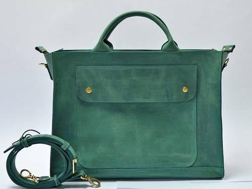 Неординарная женская сумка-хэндбэг из натуральной кожи GBAGS B003 изумрудный