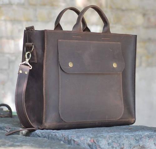 Практичная женская сумка-хэндбэг из натуральной кожи GBAGS B003 коричневый