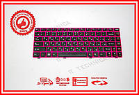 Клавиатура Lenovo IdeaPad Z370 Z470 черно-розовая