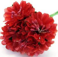 Искусственные цветы хризантемы для украшений 3см красного цвета 6 шт/уп