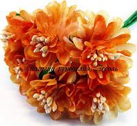 Искусственные цветы хризантемы для украшений 3см оранжевого цвета 6 шт/уп