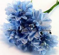 Искусственные цветы хризантемы для украшений 3см голубого цвета 6 шт/уп