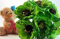 Искусственные цветы мака для украшений 4.5см зелёного цвета 3 шт/уп