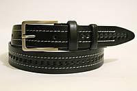 Ремень кожаный классический 35 мм черный c белой ниткой рисунок косичка пряжка матовая