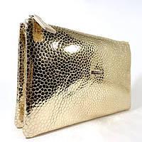 Клатч кожаный женский clutch золотистый Desisan 070 Турция