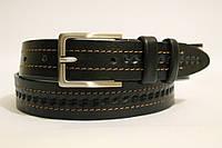 Ремень кожаный классический 35 мм черный с коричневой ниткой рисунок косичка пряжка матовая