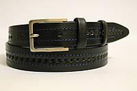 Ремень кожаный классический 35 мм чорный прошитый синей ниткой рисунок  косичка пряжка матовая 7d5af5ad8c420