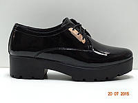 Туфли женские на тракторной подошве кожаные