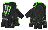 Вело-мото перчатки MONSTER Energy MS-4638-BG (PL, PVC, открытые пальцы, р-р S-XL черный-салатовый) XL