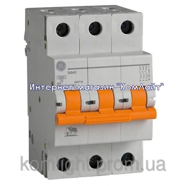 Автоматический выключатель DG 63 C32 6kA 3P 32А General Electric (Венгрия)
