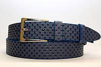 Ремень кожаный классический синий хромовая пряжка 35 мм