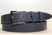 Ремень кожаный классический 35 мм голубой с белой ниткой пряжка серебрянная хром