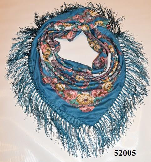 Теплый стильный павлопосадский платок (52005) 1