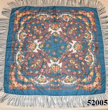 Теплый стильный павлопосадский платок (52005) 2