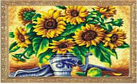 "Картина 242 по номерам ""Подсолнухи в вазе"" 40х50см, краски-акрил, кисть-3шт"