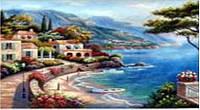 """Картина 302 по номерам """"Побережье, горы"""" 40х50см, краски-акрил, кисть-3шт"""