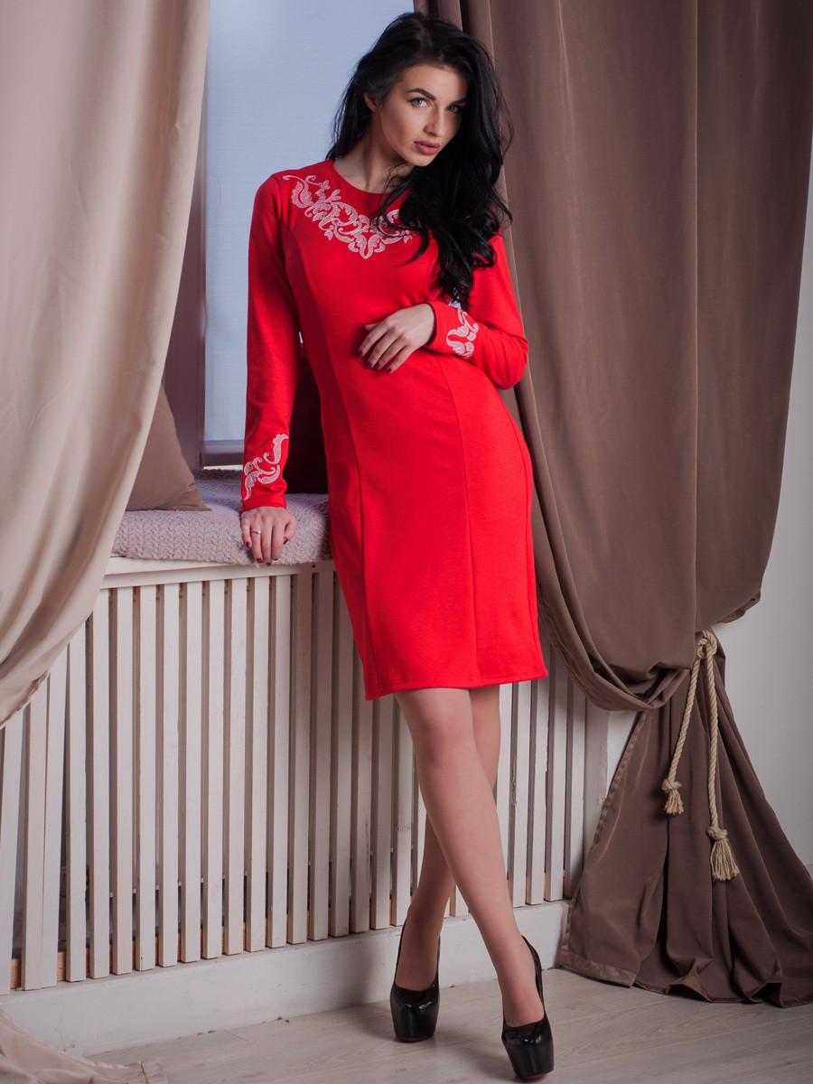 Трикотажное платье с вышивкой красного цвета, Виктория
