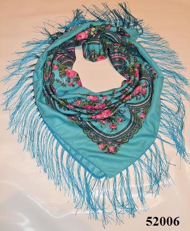 Теплый стильный павлопосадский платок (52006) 1