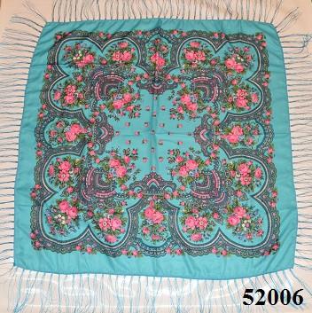 Теплый стильный павлопосадский платок (52006) 2