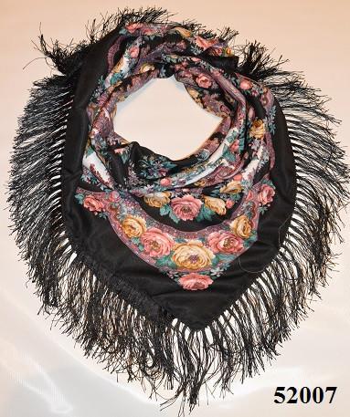 Теплый стильный павлопосадский платок (52007) 1
