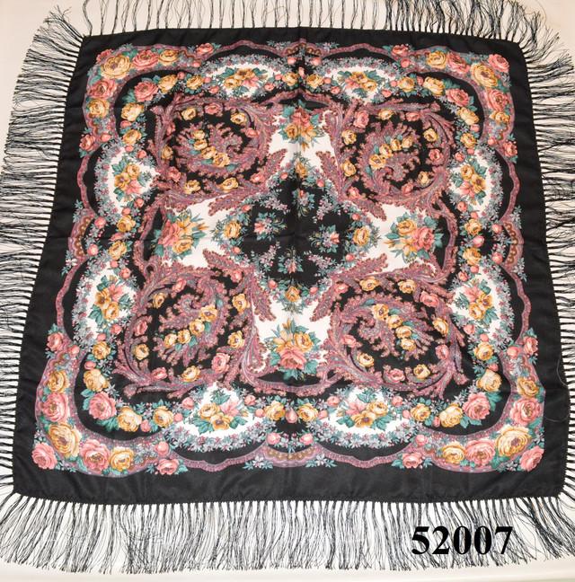Теплый стильный павлопосадский платок (52007) 2