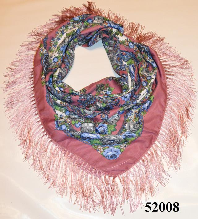 Теплый стильный павлопосадский платок (52008) 1