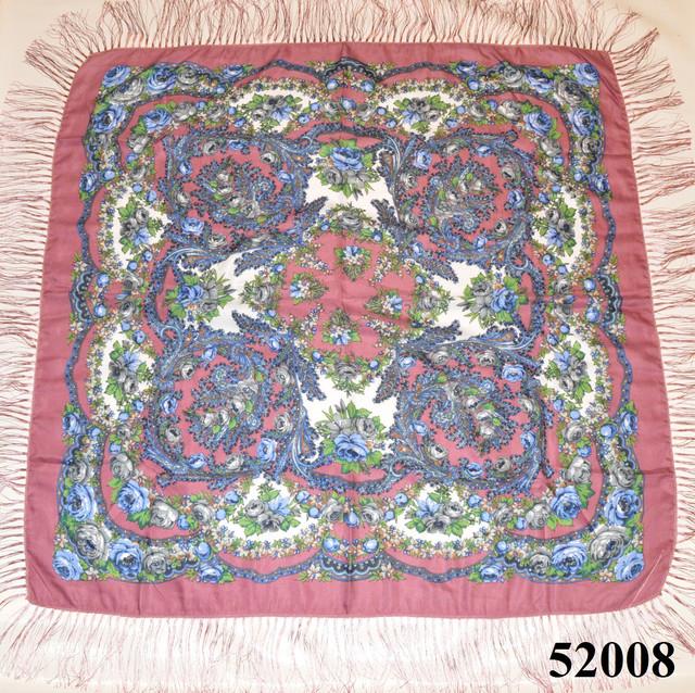 Теплый стильный павлопосадский платок (52008) 2