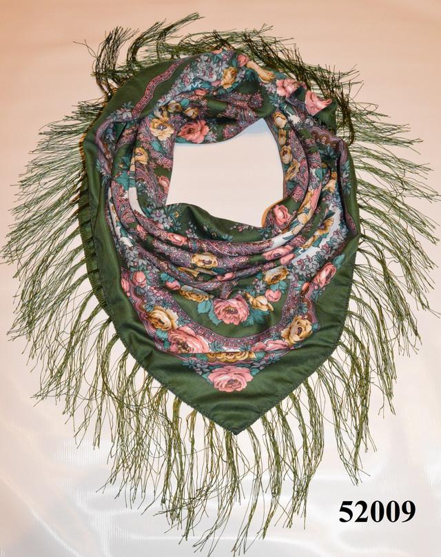Теплый стильный павлопосадский платок (52009) 1