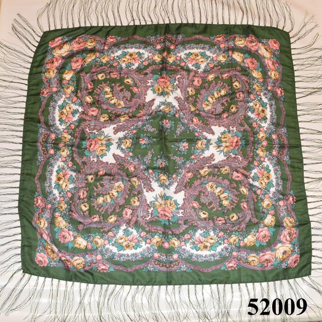 Теплый стильный павлопосадский платок (52009) 2