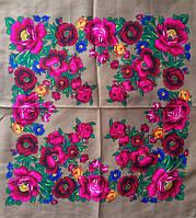 Платок Розы и маки кофейный