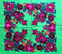 Платок Розы и маки салатовый
