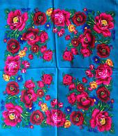 Платок Розы и маки голубой