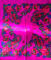 Платок Розы и маки малиновый