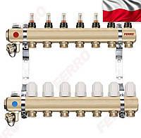 Коллектор для теплого пола сборный на 2 входа 1х1/2 с расходомерами FERRO
