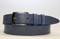 Ремень кожаный классический 35 мм голубой с синей ниткой пряжка серебрянная хром