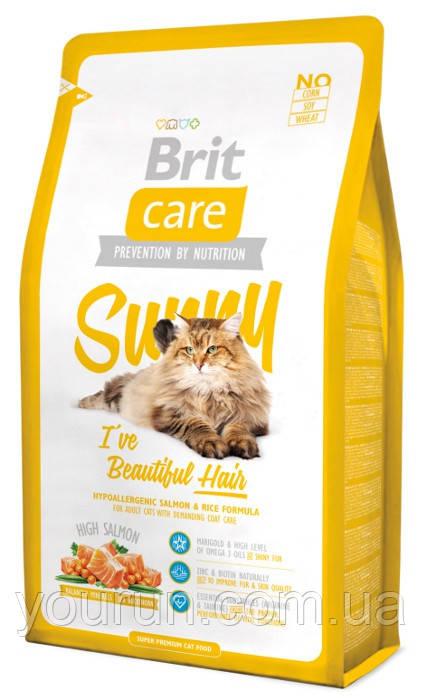 Brit Care Cat Sunny Beautiful Hair - Брит корм для кошек, шерсть которых требует дополнительного ухода 2кг - Yourun.com.ua интернет магазин в Киеве