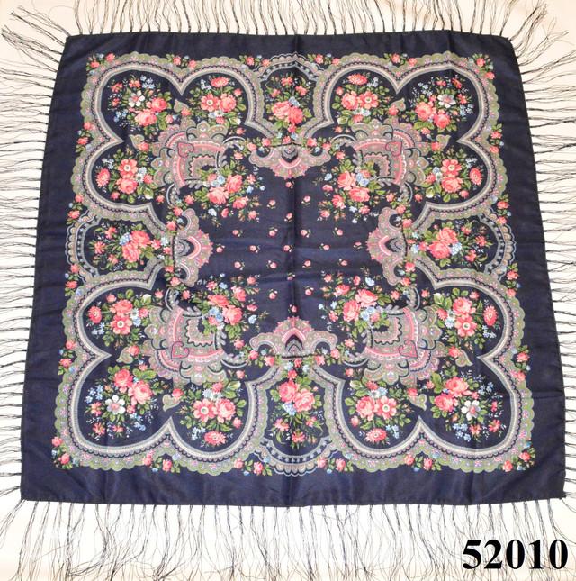 Теплый стильный павлопосадский платок (52010) 2
