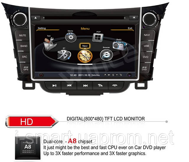 Hyundai i30 GPS + Bluetooth Car DVD Player