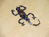 Брошь саламандра из биссера и камней ручной работы