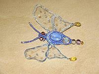 Брошь бабочка из биссера и камней ручной работы