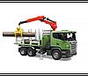 Игрушка Bruder Лесовоз Scania с портативным краном и брёвнами  1:16 (03524)
