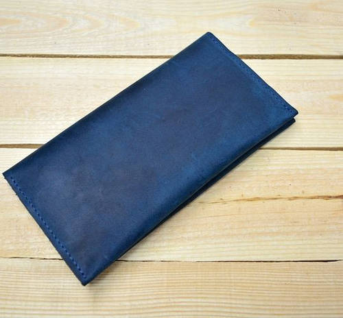 Интересное портмоне-кошелек из натуральной кожи GBAGS W007 синий