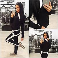 Женский черно-белый спортивный костюм с-02088