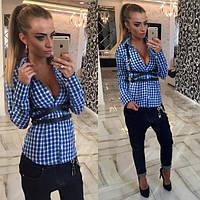 Женская стильная рубашка в клетку с портупеей (2 цвета), фото 1