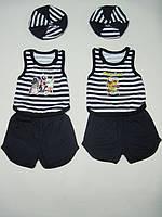 Акция 1+1. Комплект для мальчика, майка, шорты, берет из хлопка, р.р.24-28