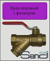 """Кран шаровый с фильтром 1"""" ВВ SANDI PLUS"""