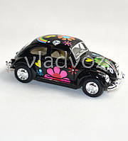 Машинка Volkswagen Classical Beetle метал 1:32 чёрная