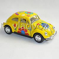 Машинка Volkswagen Classical Beetle метал 1:32 желтая
