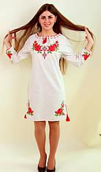Вишите жіноче плаття льон довгий рукав
